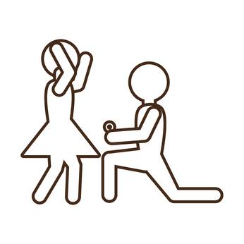 pictogram marriage proposal happy bride