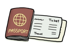 passport and ticket / cartoon vector and illustration, hand drawn style, isolated on white background.
